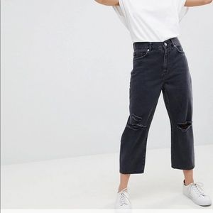 ASOS cropped petite ripped jeans